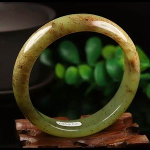 Jewelry - 59mm Grade A 100% Natural Brown Green Jade Bangle